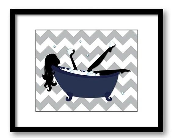 Navy blue grey gray bathroom decor bathroom print silhouette for Navy bathroom decor