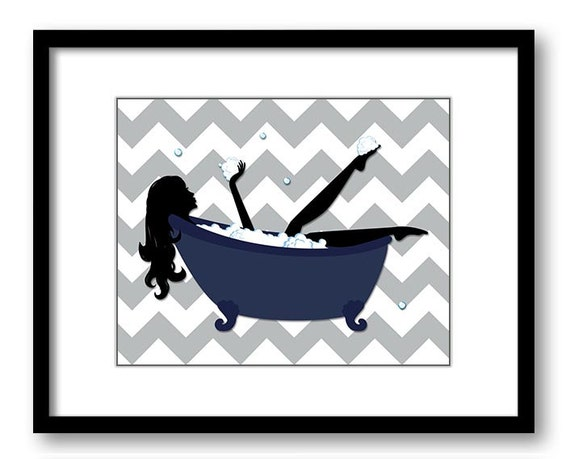 Navy blue grey gray bathroom decor bathroom print silhouette for Navy blue and grey bathroom decor
