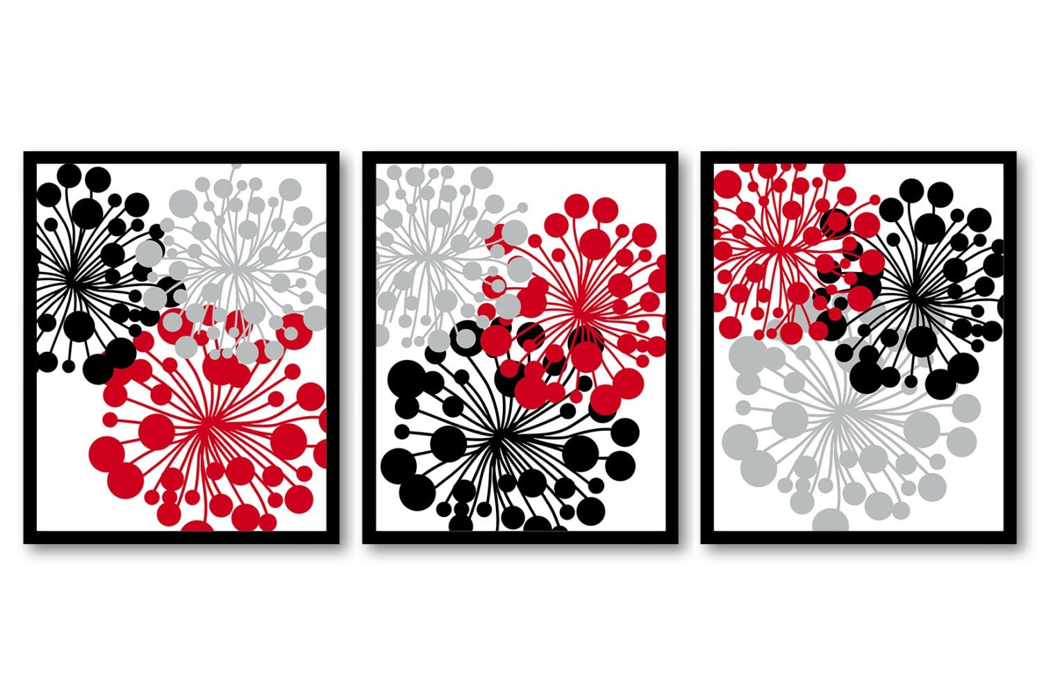 Red Black Gray Grey White Flower Print Flowers Dandelion Set