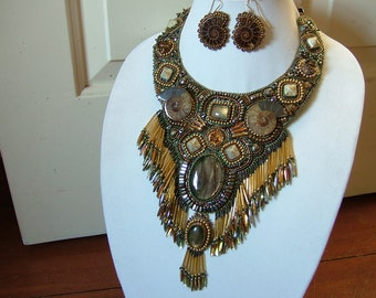 The Midas Touch...bead embroidered necklace, collar   plus matching earrings.....EBW team member