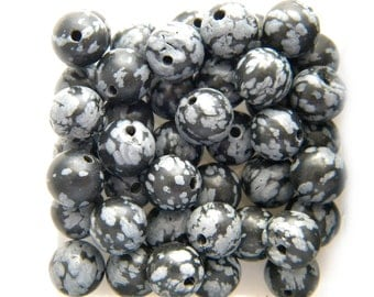 10 Snowflake Obsidian Beads - 10mm