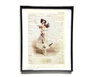 Ballerina 1 vintage art print encyclopedia old book pages image poster