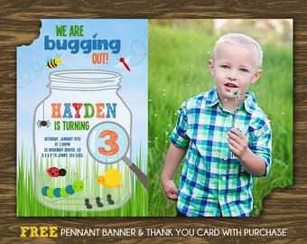 Bug Birthday Invitation - Printable - FREE pennant banner and thank you card with purchase