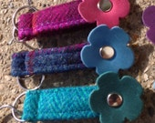 Harris Tweed And Flower Leather key fobs key ring key chain accessories