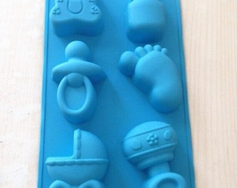 Stroller bottle little feet cake mold soap mold Flexible Silicone Mold polymer clay mold Resin Mold Cookie Mold Icing Mold Baking Tools