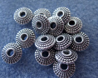 14 - 8mm Silver Flying Saucer Beads