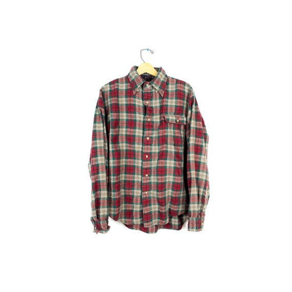 Vtg Viyella Wool Flannel Shirt Red Green Plaid By