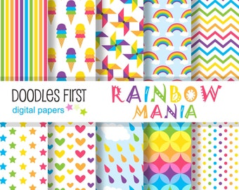Rainbow Mania Digital Paper Pack Includes 10 for Scrapbooking Paper Crafts