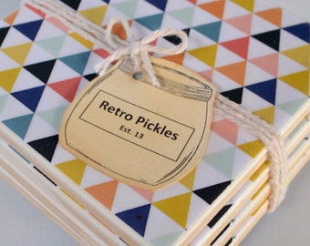 Ceramic Tile Coasters - Geometric Style 035