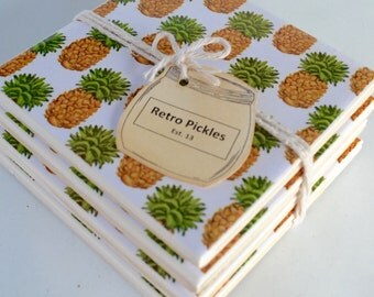 Ceramic Tile Coasters - Retro Pineapples 038