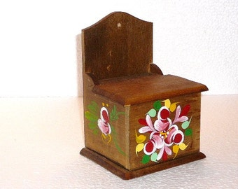 Vintage Wooden Brown Floral Hand painted Salt Box with Lid, Food Container Handmade Wood Kitchen Serving @95