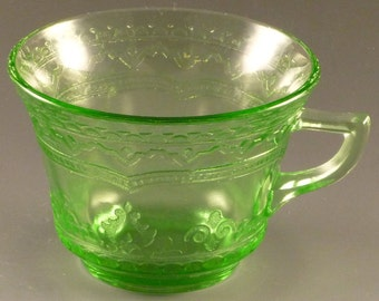Federal Patrician Spoke Green Depression Glass Cup Vintage 1930s Authentic Excellent Condition