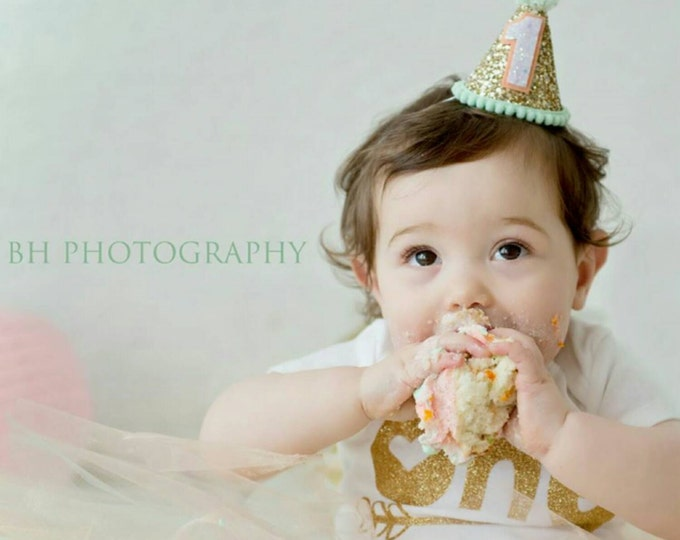 Glittery Mini Party Hat Headband   Mint and Peach   Mint Party Hat   Birthday Girl   Photo Prop   Cakesmash   First Birthday   Ready to Ship