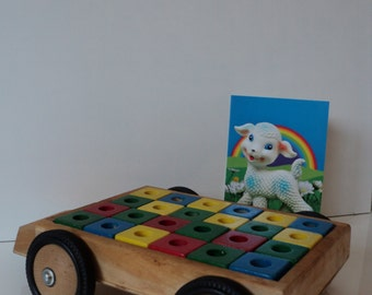 Vintage cart with colourful blocks