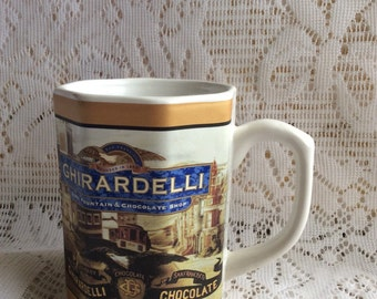 Vintage Ghirardelli Chocolate octogan coffee cup