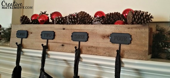custom rustic reclaimed wood fireplace mantle stocking holder. Black Bedroom Furniture Sets. Home Design Ideas