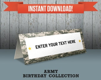 Army Party - Camo Party Printable Tent Cards / Place Cards / Food Labels - Editable PDF file - Print at home