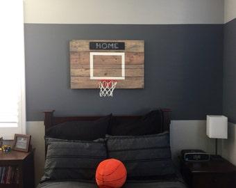 Rustic Reclaimed Wood Basketball Hoop