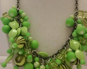 Lime Green Statement Necklace Green Zebra Print Necklace Green Bib Necklace Green Chunky Necklace One Of A Kind Necklace SByourself Necklace