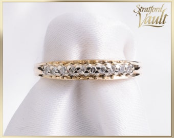 Vintage ~ Ladies Diamond Wedding Band ~ 10k Yellow Gold ~ 10 x .005ct Claw Set Single Cut Diamonds ~ STR_016 ~ 800.00