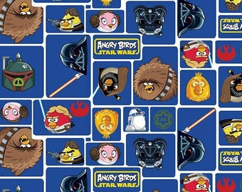 Angry Birds Star Wars - Blue Character Blocks Fabric
