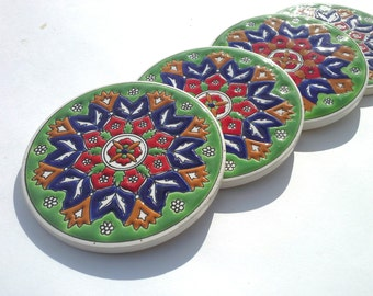 Green Ceramic Coaster, Drink tile Coaster, Ceramic Coaster, Floral Ceramic Coaster, Mediterranean Ceramic, Greek Art