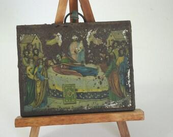Antique Religious Icon, Assumption Of Virgin Mary, Christian Orthodox Art, Gift For Godparents, Religious Decor, Baptismal Gift