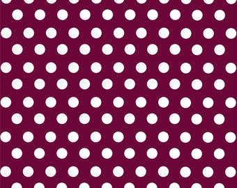 Maroon with white polka dot pattern craft  vinyl sheet - HTV or Adhesive Vinyl -  medium polka dots HTV1627