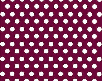 Maroon with white polka dot pattern craft  vinyl sheet - HTV or Adhesive Vinyl -  medium polka dots HTV1627