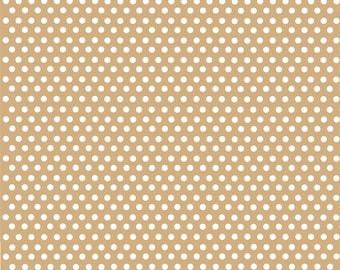 Tan with white mini polka dots craft  vinyl sheet - HTV or Adhesive Vinyl -  polka dot pattern HTV2303