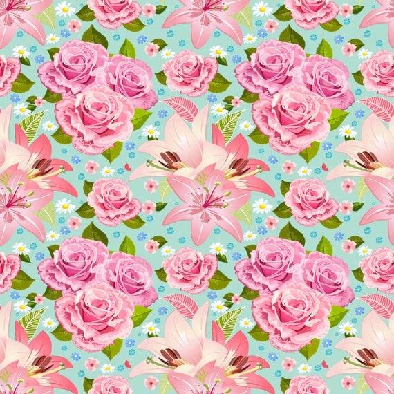 floral mint heat transfer vinyl sheet large flower pattern