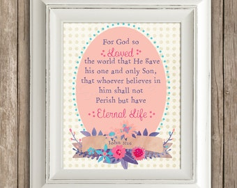 John 3:16 - Bible Verse Wall Art Printable Decor -  INSTANT DOWNLOAD