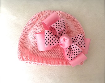 Hand Knit Baby Hat Pink with Black Polka Dot on Pink Double Bow