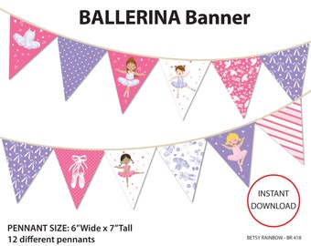 Ballerina banner, pink and purple ballerina, digital banner, ballerina, danse, ballet - BR 417