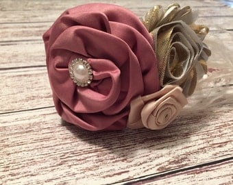 Couture baby headbands. Vintage style. Pearls and rosettes. Feathers and rhinestones. Satin rosette flower. Baby girls headband.