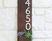 """8"""" x 26"""" Succulent Hanging Planter & Metal Address Plaque - Vertical Wall Planter with Brushed Aluminum Address Numbers"""