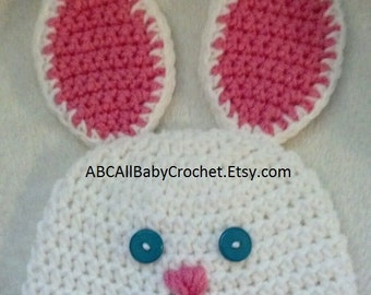 Handmade Crochet Baby Easter Bunny Beanie Hat, two colors available! (Larger sizes also available!)