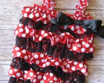 Minnie Mouse romper & headband, Minnie Mouse outfit, Minnie Mouse bow, Disney outfit, character headband, birthday headband, first birthday