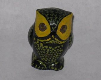 Small ceramic owl figurine hand painted yellow green black