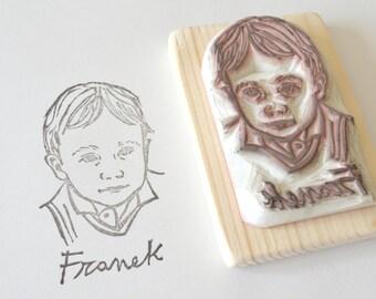 Timbro con ritratto personalizzato - intagliato a mano - idea regalo