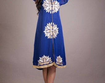 Blue Georgette With Light Embroidery Long Top For All Girls