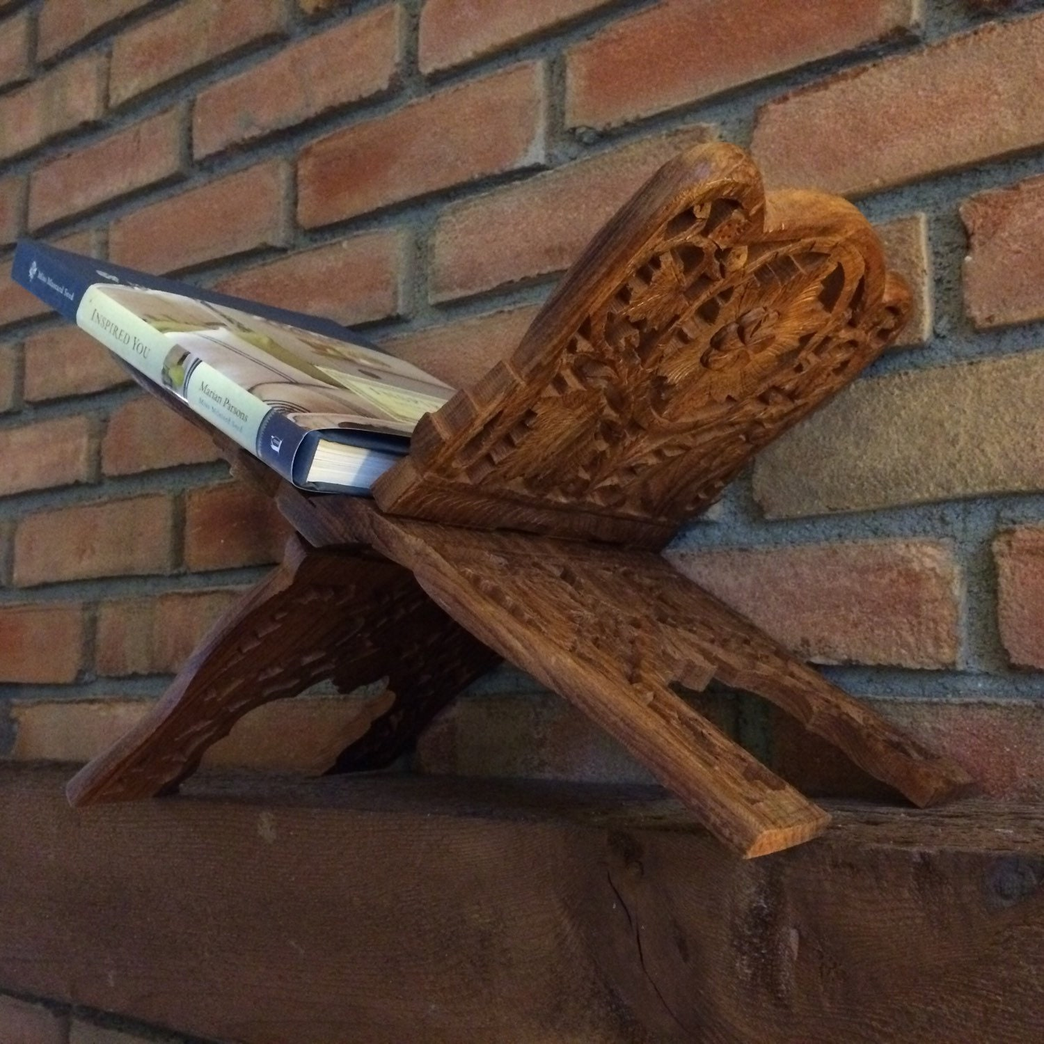 Wooden Bible Stand ~ Vintage wood folding book stand hand by scotchstreetvintage