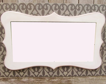 Whimsical Picture Frame - Distressed Frame in Urbane Bronze and Anonymous Gray Damask Pattern with Stacked Whimsical Frame