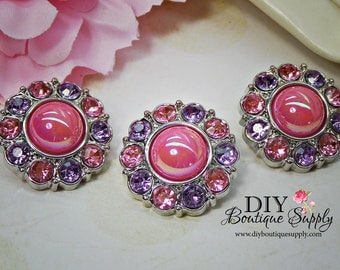 Sweet  Pink and Purple Pearl Buttons Pink Rhinestone Buttons Embellishments Hair Bow Flower Centers Buttons Craft Supplies 25mm 8370035