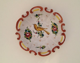 Vintage Hand Painted Bird Plate, Trinket Dish, Italy