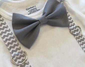 Grey Bow tie onesie