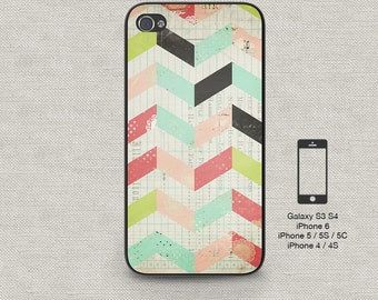 Cell phone case iphone 5 / 5s / 5c 4 / 4s Samsung Galaxy S3 / S4 -Rustic Chevron 155