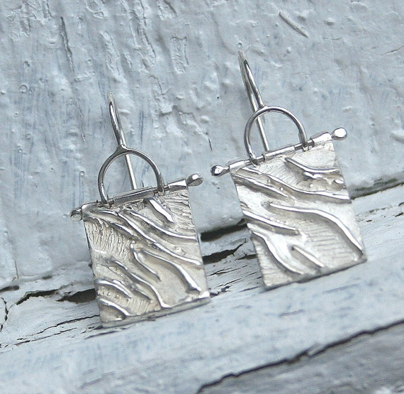 Organically Textured Sterling Silver Dangle Earrings