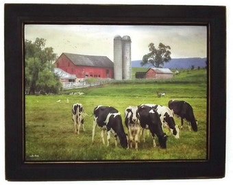 Cows and Barn, Belleville Cows, Country Home Decor, Farmhouse Decor, Art Print, Wall Hanging, Handmade, 19x15 Custom Wood Frame, Made in USA