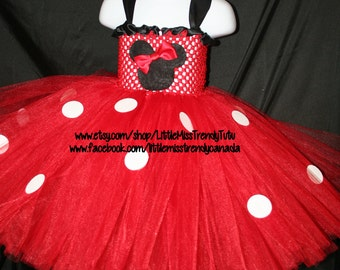 Minnie Mouse Inspired Tutu Dress, Minnie Mouse Outfit, Red Minnie Mouse Tutu Dress